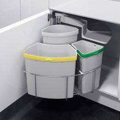 Lovin' this Recycling Station. Vauth Sagel by Fulterer Eco Center Ultimate Recycling Station Kitchen Organization, Kitchen Storage, Pantry Storage, New Kitchen, Kitchen Decor, Kitchen Small, Kitchen Waste, Kitchen Corner, Smart Kitchen