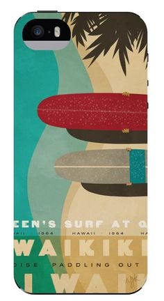 """Paddle Out"" by Nick Kuchar - Hawaiian vintage retro beach art iPhone 5 / 5s case. 15% of proceeds benefit Surfers Healing. http://www.truprotection.com/nick-kuchar-ip5-5s-paradise-paddle-out/"