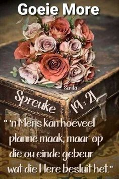 Good Morning Messages, Good Morning Wishes, Lekker Dag, Goeie More, Afrikaans, Decorative Boxes, Rose, Day, Flowers