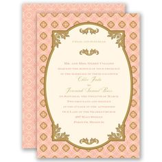 Touch of Gold - Coral Reef - Invitation   Invitations By David's Bridal