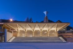 norman foster has restored the historic 'kulm eispavillon' in the swiss resort town of st moritz, which had previously been abandoned for several years. Foster Architecture, Architecture Design, Timber Architecture, Chinese Architecture, Contemporary Architecture, Landscape Architecture, Norman Foster, Saint Moritz, Facade Lighting