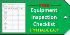How to Use the Equipment Inspection Checklist