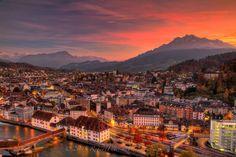 Lucerne Switzerland Sunset View From Tower City Marathon, Lucerne Switzerland, Hdr Photography, Paris Skyline, To Go, October 25, Fire Department, Sunset, Travel