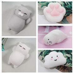 Lindo pelota antiestrés Mochi Mini Squeeze gato Lindo de Kawaii Blando muñeca Apriete Elástico Curación Animal Estrés niños adultos juguetes