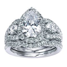 14K White Gold Pear Shaped 3-Stone Halo Diamond Engagement Ring | Mullen Jewelers