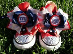 NEW YORK GIANTS Shoes - New York Giants Bow - Football - Cheerleader - Swarovski Crystals - Rhinestone converse - Infant/Toddler/Youth on Etsy, $79.99