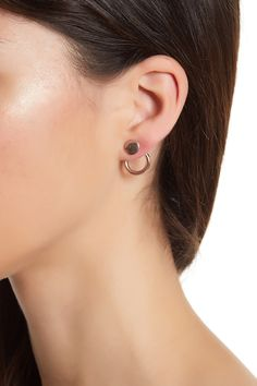 Rose Gold-Tone Disc & Open Stud Earrings
