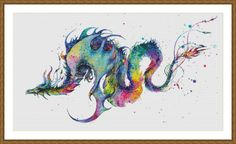 Rainbow Dragon Watercolor Painting Counted Cross Stitch