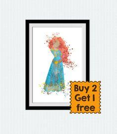 Disney princess poster Merida The Brave by ColorfulPrint on Etsy