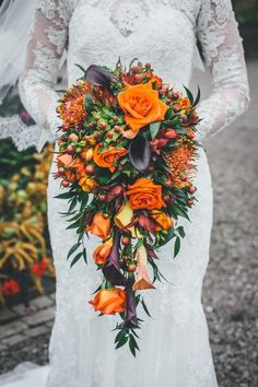 Pumpkins and lace for a Seasonal Wedding at Arley Hall. Stunning autumn wedding bouquet.  Image by Jessica O'Shaughnessy Photography.  Read more: http://bridesupnorth.com/2016/08/15/fall-in-love-pumpkins-lace-for-a-seasonal-wedding-at-arley-hall-heather-steve/  #wedding #flowers #autumn