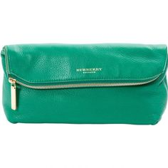 Pre-owned Burberry Leather Clutch Bag ($297) ❤ liked on Polyvore featuring bags, handbags, clutches, green, women bags clutch bags, burberry purses, green leather purse, leather envelope clutch, envelope clutch and shoulder strap purses