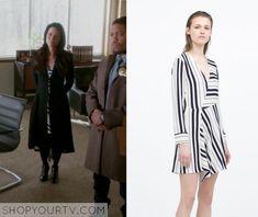 Elementary: Season 3 Episode 22 Joan's Black/White Striped Dress
