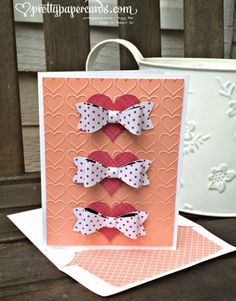 #stampinup #prettypapercards #occasionscatalog #valentines #handmadecard #hearts #bows