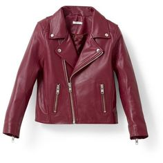 Ganni Passion Biker Jacket (35.480 RUB) ❤ liked on Polyvore featuring outerwear, jackets, asymmetrical leather jackets, leather moto jacket, real leather jackets, cropped leather jacket and cropped jacket