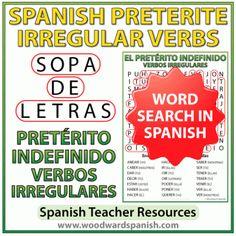 Spanish Preterite irregular verbs word search – El pretérito indefinido - Sopa de Letras