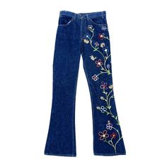 WILLIAM de LILLO's Embroidered Levi Jeans ca.1968 | From a collection of rare vintage pants at https://www.1stdibs.com/fashion/clothing/pants/