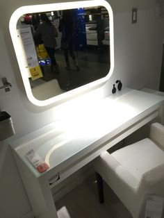 Ikea micke as vanity desk dressing table white for Illuminated mirrors ikea