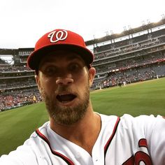 We are sitting front row right field and the lady behind us threw her phone down and Bryce Harper took this selfie on her phone ⚾️