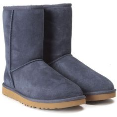 Ugg Australia Classic Short Shearling Boot ($245) ❤ liked on Polyvore featuring shoes, boots, blu, short boots, blue boots, shearling lined shoes, sheep fur boots and short shoes