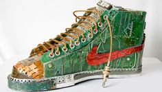 "Nike Sneakers – Gabriel Dishaw They might not be comfortable to wear, but Gabriel Dishaw's kicks would make any geek salivate. The ""Blazer Pentium 1.0"" is made from computer circuit boards and weighs nearly 15 pounds, but the level of detail is stunning. We dare you to stare at that swoosh and try not to drool."