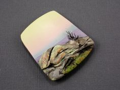 Handmade Polymer Clay Focal Pendant Bead-Leaving the Canyon at Dusk-Grand Canyon-Southwestern Theme-Pastel Colors- Jewelry Supplies-PA 8468 by StudioStJames on Etsy