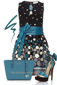 """Poka-dot Dress & MK"" by casuality on Polyvore - cute party dress for a teen just not the heels."