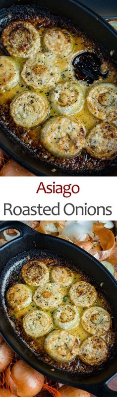 Asiago Roasted Onions # Roasted # Onions Sweet and tender roasted onions in a cream asiago sauce covered in meted cheese! Vegetable Sides, Vegetable Side Dishes, Vegetable Recipes, Vegetarian Recipes, Cooking Recipes, Healthy Recipes, Onion Recipes, Roast Recipes, Sauces