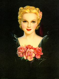 American illustrator and pin up artist Jules Erbit 1889 - 1968 beautiful woman with pink roses Pin Up Vintage, Pin Up Retro, Vintage Beauty, Vintage Ladies, Vintage Glamour, Vintage Roses, Vintage Pictures, Vintage Images, Woman Painting