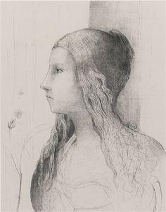 Odilon Redon - BRUNNHILDE (M. 130); Creation Date: 1894; Medium: lithograph