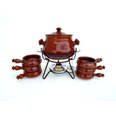 Vintage Royal Sealy Japan Oven Proof Stoneware Set Crock Pot and 6... ($35) ❤ liked on Polyvore featuring home, kitchen & dining and food storage containers