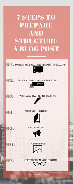 7 Steps to Prepare and Structure a Blog Post INFOGRAPHIC LOLLY AND MAISY
