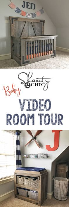 Come walk through the new baby's nursery with us! Links to the free plans for all the furniture and products used too!