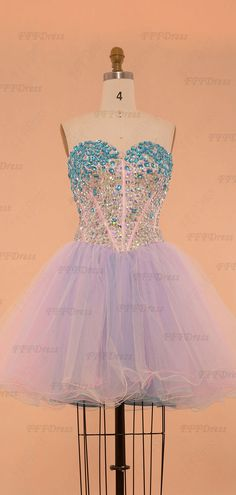 ff5482530f Sparkle Crystals Pink Blue Short Prom Dresses poofy homecoming dresses