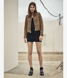Women's Emery Suede Jacket (PALE BROWN) - product_image_alt_text_5