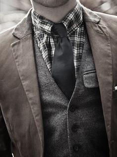 Herringbone wool tweed vest, silk tie, plaid shirt & blazer jacket.