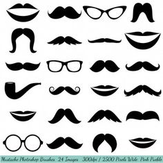 Our Mustache Photoshop Brush set contains 24 high-resolution brushes within an ABR file. The ABR file works with Photoshop CS and above and Elements 4 and Moustaches, Black Silhouette, Silhouette Cameo, Shopping Clipart, Brush Sets, Photoshop Brushes, Psd Brushes, Photoshop Tips, Lightroom