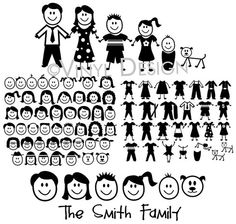 Create your own STICK FIGURE family up to 5 members  by Teeznstyle, $5.99