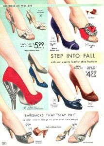 Early 1950's shoes were often very high, but with rounded or peep toes and low cut front uppers and sometimes had sturdy Cuban heels.   Strapped sandals with finer heels were popular as were heavier thicker heels for lower shoes, but by the mid fifties kitten heels and metal tipped steel stiletto heels. By the mid 1950s pointed toe shoes called winkle pickers with stiletto heels up to 5 inches were a common sight.