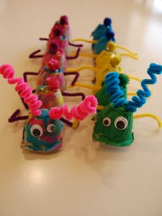 Egg crate caterpillars!  Cut egg crate in half, let kids paint, decorate and stick pipecleaners through sides for feet and antennae!