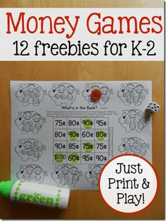 These counting coins activities are so versatile! For kids just learning to recognize coins all the way up to kids counting quarters, nickels, dimes, and pennies. Money Activities with Kids Money Worksheets, Kindergarten Worksheets, Number Worksheets, Money Activities, Math Resources, Math Strategies, Children Activities, Math For Kids, Fun Math