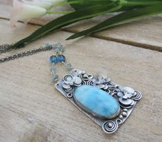Sterling Silver Larimar and Orchid Flower by BloomingandWild