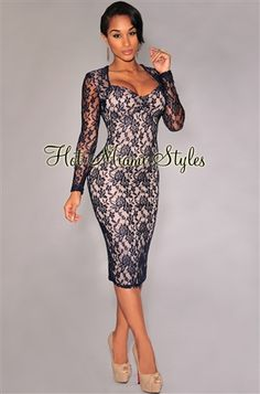 navy+blue+long+sleeve+fitted+lace+dress | Navy-Blue Lace Nude Illusion Long Sleeves Padded Midi Dress