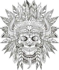 chef indien: crâne du natif américain en chef coiffure
