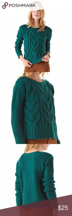 NEW BB Dakota 'David' Cozy Cable Knit Sweater Cozy sweaters are a must-have for layering in chilly weather. This one from BB Dakota in elegant Evergreen goes with everything.  Size small. 70% acyrlic/30% wool  * Free gift with every order! * BB Dakota Sweaters Crew & Scoop Necks