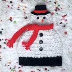 Crochet Santa, Crochet Snowman, Snowman Hat, All Free Crochet, Christmas Crochet Patterns, Holiday Crochet, Crochet Round, Hat Crochet, Crochet Crafts