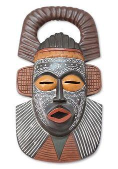 Ghanaian wood mask - Osudum Chief Priest - NOVICA
