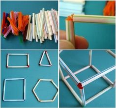 Pipe cleaners and straws to make and shapes! Stem For Kids, Art For Kids, Crafts For Kids, Diy Crafts, Busy Boxes, Montessori Math, Shape Crafts, Stem Projects, Chenille