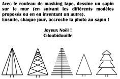 Sapin-masking-tape-Ciloubidouille tree designs for christmas. maybe washi tape on the wall? art design landspacing to plant Christmas Store, Christmas Makes, Noel Christmas, Modern Christmas, Christmas Ideas, Tape Wall Art, Washi Tape Wall, Tape Art, Deco Tape