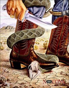 Cowboy boots really are multi-purpose. You can look good and fight off wild animals! What a great Nocona Boot ad, from Cowboy Art, Cowboy And Cowgirl, Cowboy Boots, Men's Boots, Western Art, Western Boots, Vintage Advertisements, Vintage Ads, Nocona Boots