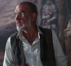 Waistcoat opened Sean Connery as Dr Henry Jones taken from Indiana Jones and the Last Crusade Copyright Paramount Pictures